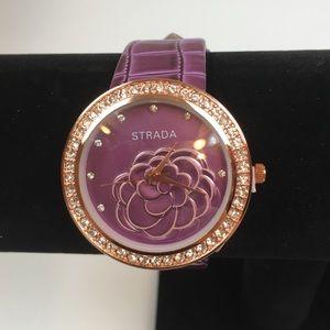 💜Strada Purple Watch w/ White Austrian Crystals